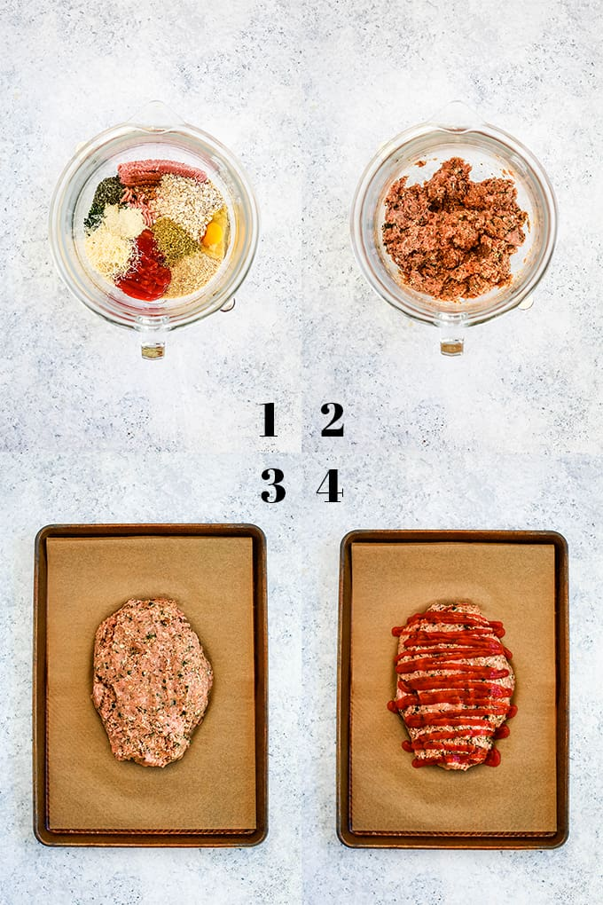 How to Make Turkey Meatloaf, steps 1-4.