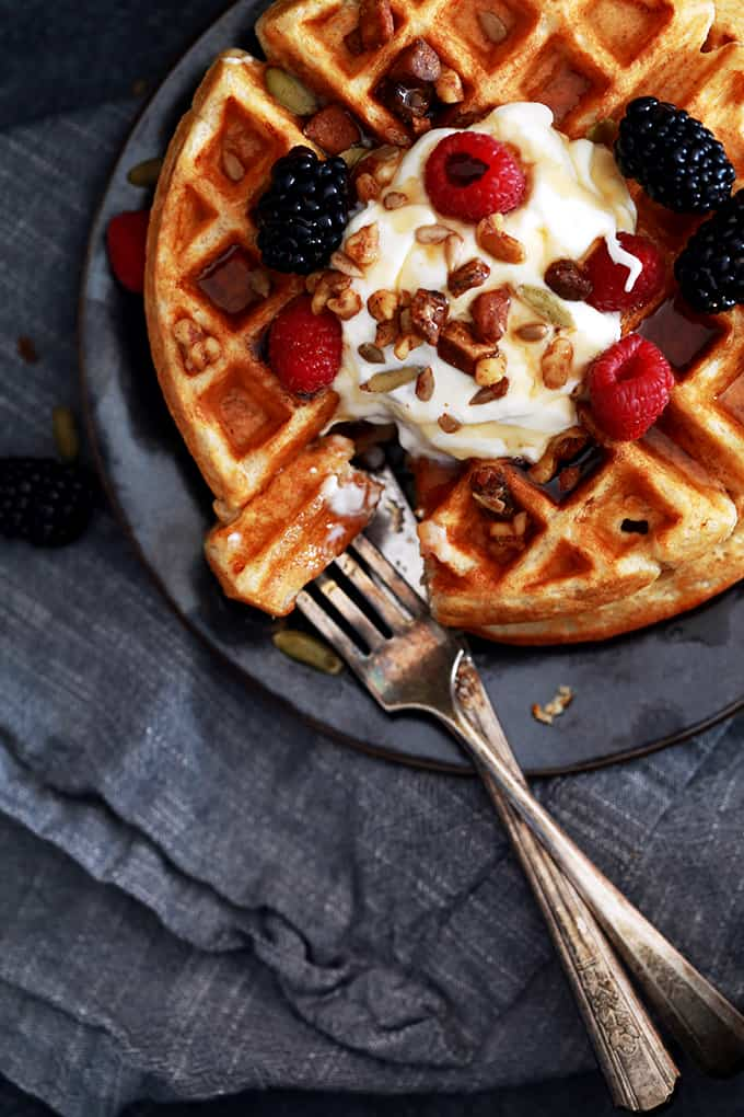 These Yogurt Waffles get their rich and delicious taste from whole milk yogurt and butter and have a heartier bite thanks to a combination of white and whole wheat flours. With a crisp exterior and a light and fluffy interior, these are sure to become a breakfast favorite!