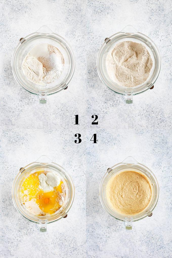 How to prepare Yogurt Waffles, steps 1-4.