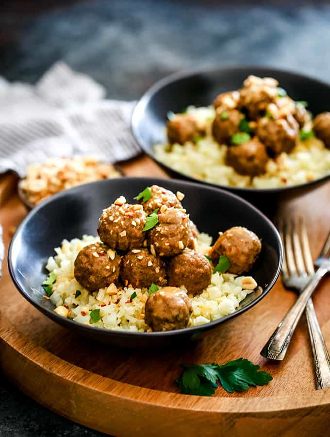 Slow Cooker Thai Chili Peanut Meatballs