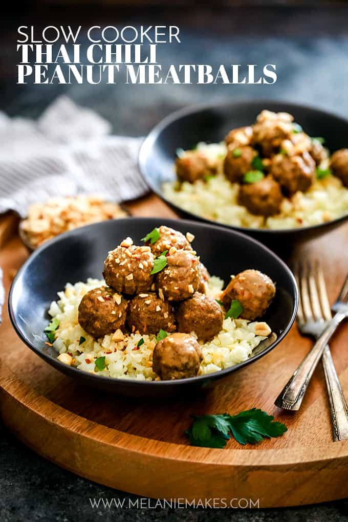 Two bowls of Slow Cooker Thai Chili Peanut Meatballs.
