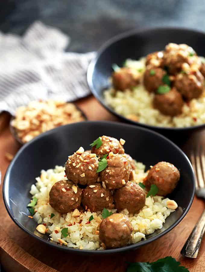 Slow Cooker Thai Chili Peanut Meatballs