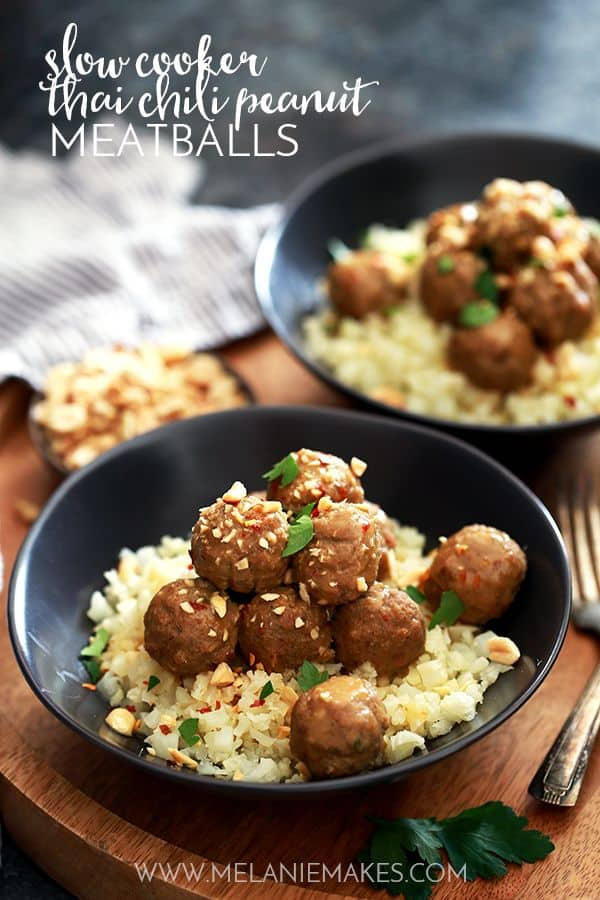 Slow Cooker Thai Chili Peanut Meatballs | Melanie Makes