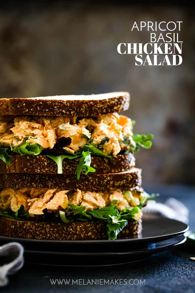 Two sandwiches filled with Apricot Basil Chicken Salad are stacked on a dark colored plate.