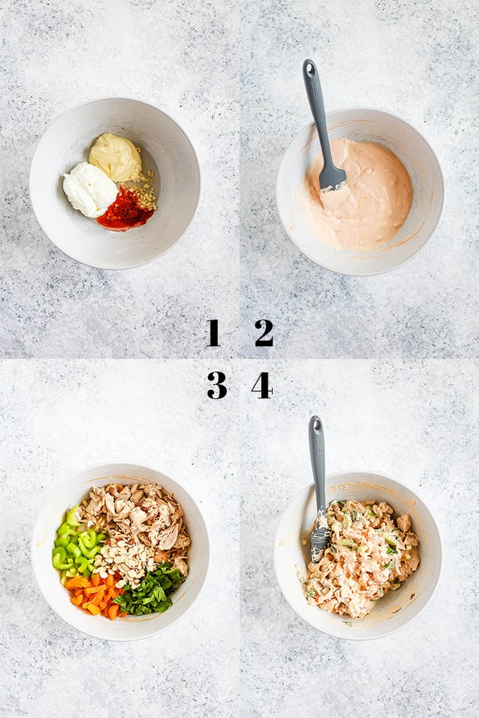 How to prepare Apricot Basil Chicken Salad, steps 1-4.