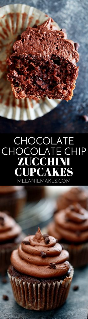 These Chocolate Chocolate Chip Zucchini Cupcakes are incredibly dreamy and you shouldn't go another minute without them in your life. A moist and decadent chocolate cupcakes is studded with chocolate chips and flecked with zucchini before being topped with a swirling mountain of my Dark Chocolate Buttercream Frosting and mini chocolate chips.