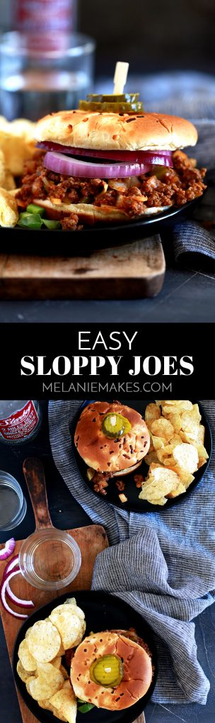 This Easy Sloppy Joes recipe is just that – EASY! Skip the canned stuff and have this delicious homemade version on the table in just 40 minutes. #dinnerrecipes #sloppyjoes #beef #easyrecipe #sandwiches