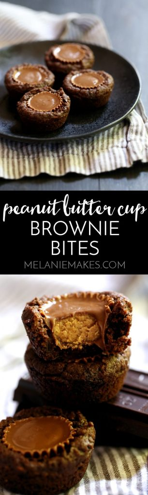 Miniature peanut butter cups are the crown jewel of these Peanut Butter Cup Brownie Bites. Using just 10 ingredients and a stir of a spoon, these delicious one bite treats are sure to disappear quickly around peanut butter and chocolate lovers alike.