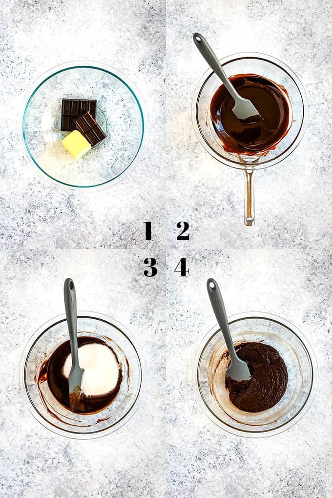 How to prepare Peanut Butter Cup Brownie Bites, steps 1-4.