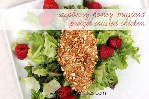 Raspberry Honey Mustard Pretzel Crusted Chicken | @melaniebauer at Melanie Makes
