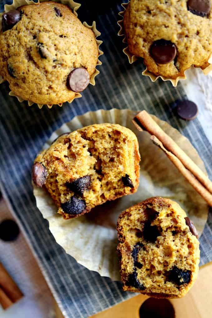 Pumpkin Chocolate Chip Muffins | Melanie Makes