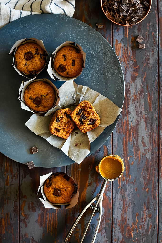Pumpkin Chocolate Chip Muffins sit on a grey plate.