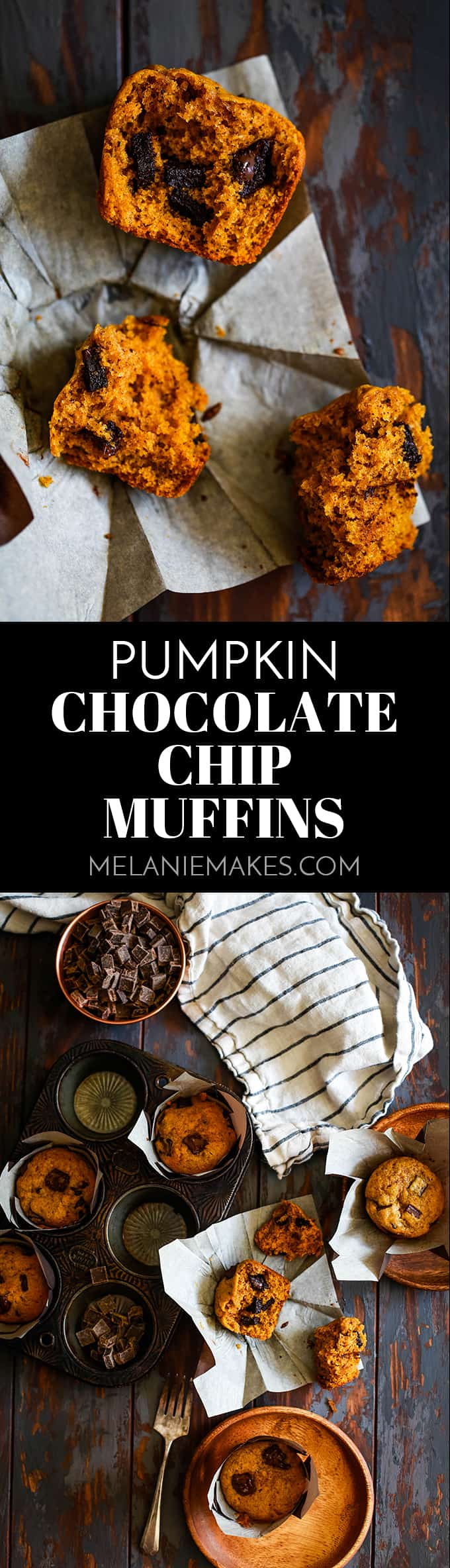 These Pumpkin Chocolate Chip Muffins take just 10 minutes to prepare, are spiked with cinnamon, cloves and allspice and studded with chocolate chips. #pumpkin #chocolatechip #muffins #breakfast #brunch #easyrecipe #autumn