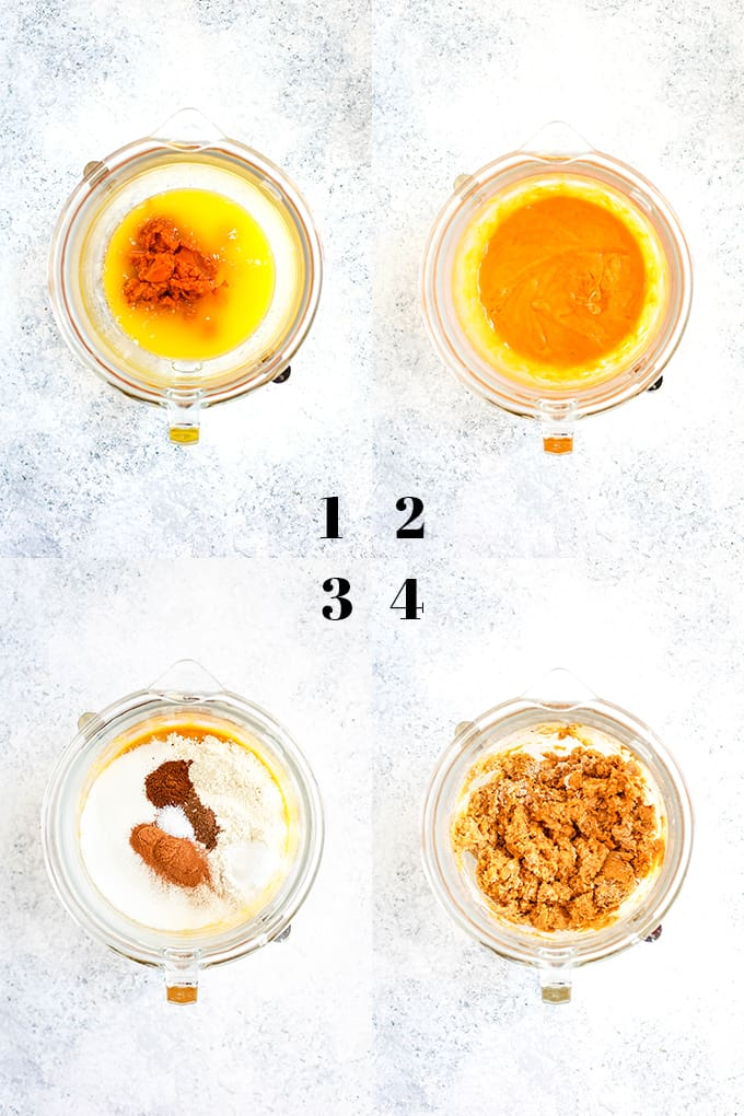 How to prepare Pumpkin Chocolate Chip Muffins, steps 1-4.