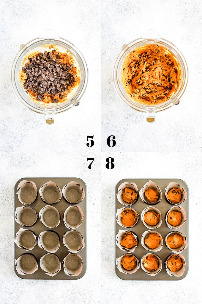 How to prepare Pumpkin Chocolate Chip Muffins, steps 5-8.