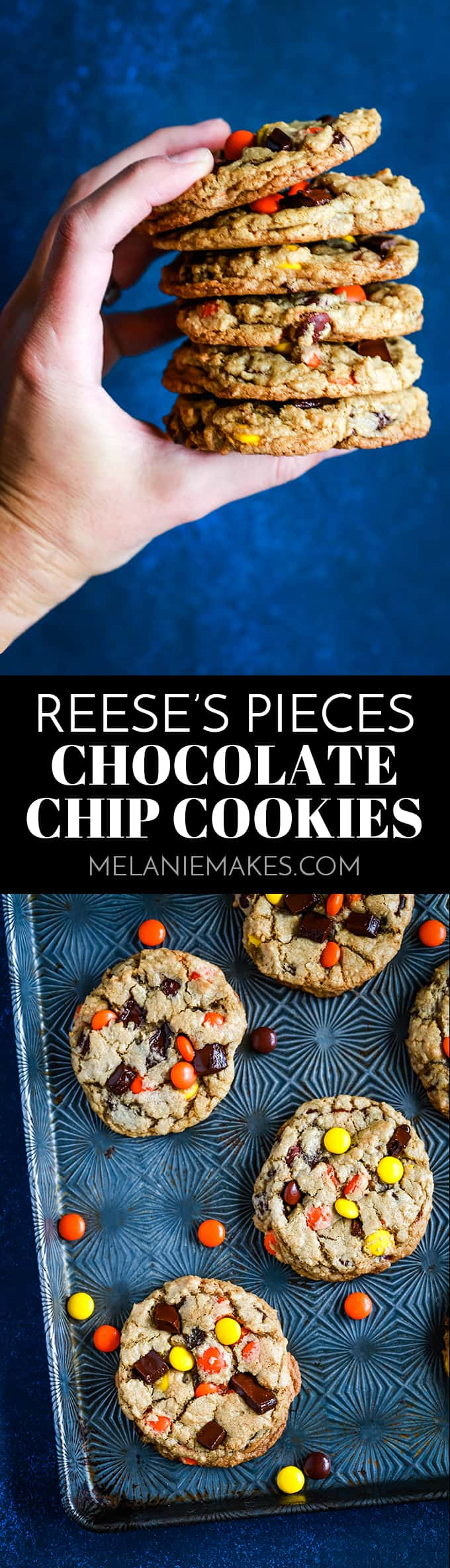 These soft and chewy Reese's Pieces Chocolate Chip Cookies are a peanut butter and chocolate lover's dream. A traditional chocolate chip cookie base is overloaded with chocolate and candy to create a cookie you won't soon forget. #chocolatechip #cookies #peanutbutter #candy #reesespieces