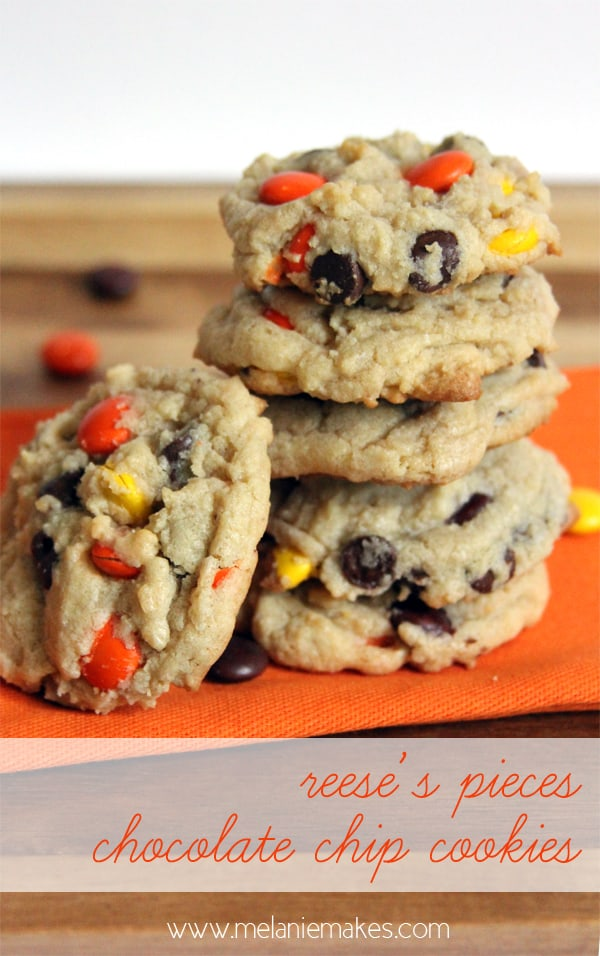 Reese's Pieces Chocolate Chip Cookies | @melaniebauer at Melanie Makes