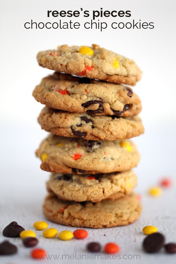 Reese's Pieces Chocolate Chip Cookies | Melanie Makes
