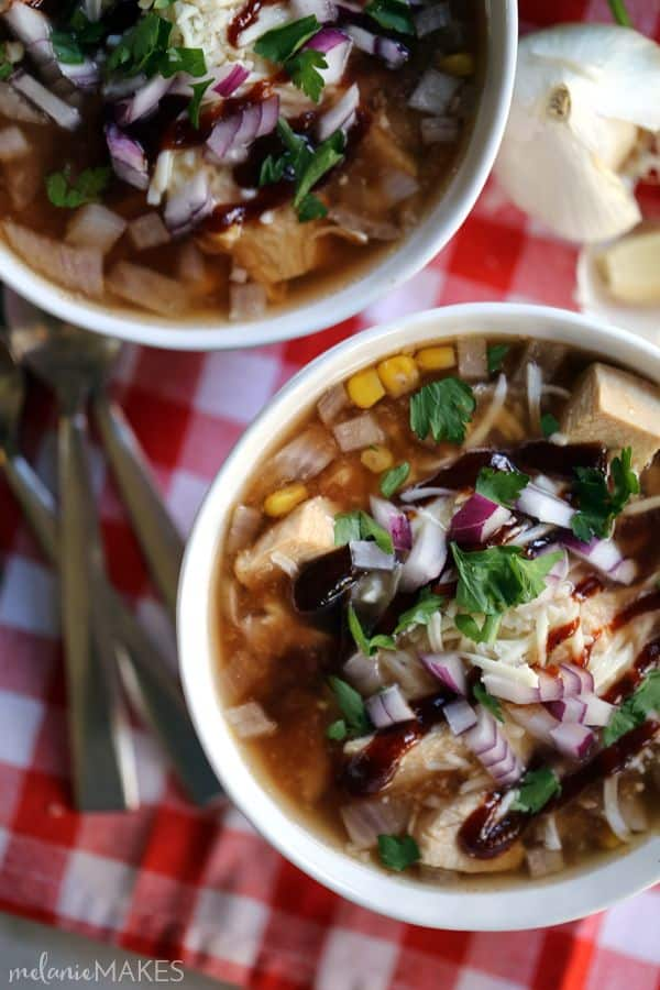 This is truly BBQ Chicken Pizza in soup form. Sweet and spicy BBQ sauce, chicken, red onions and cilantro come together with the addition of corn for a comforting bowl of goodness on a chilly autumn day.
