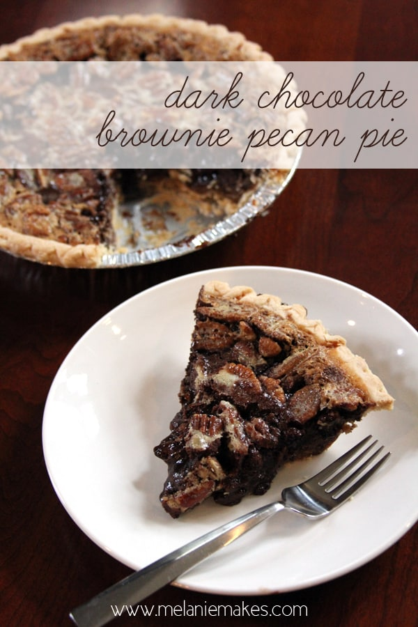 Dark Chocolate Brownie Pecan Pie | Melanie Makes melaniemakes.com