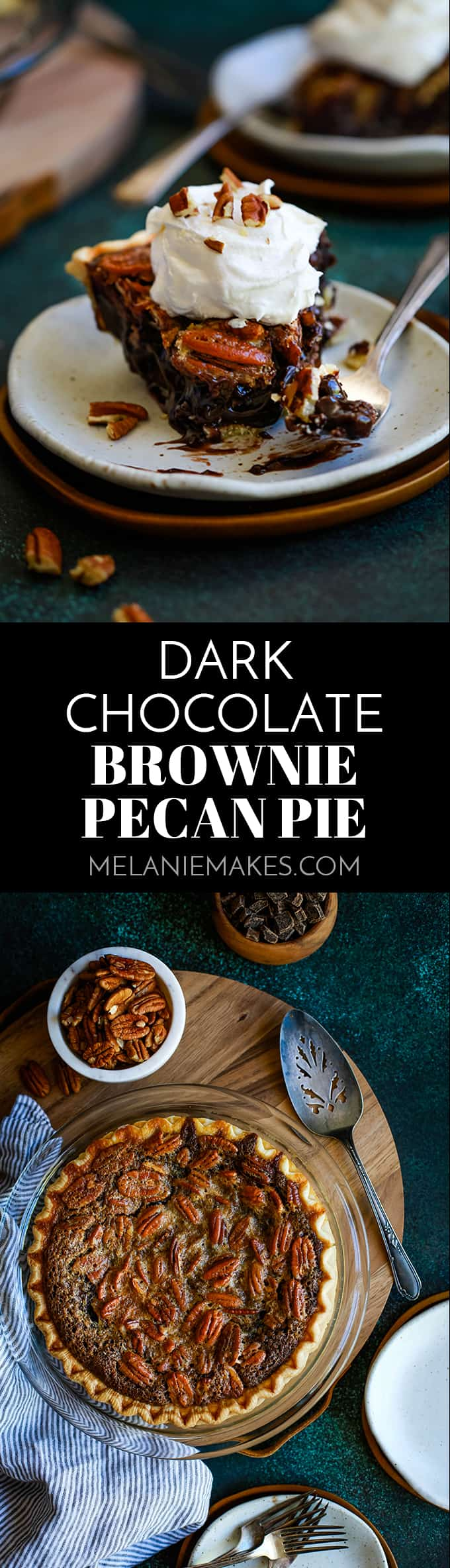 Forget the traditional!  Chocolate chips, brownie batter and hot fudge sauce form the base of this absolutely amazing Dark Chocolate Brownie Pecan Pie. #pecanpie #pie #chocolate #brownies #thanksgiving #christmas #desserts #easydessert