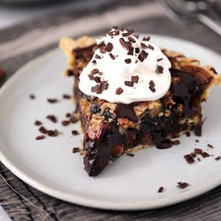 Dark Chocolate Brownie Pecan Pie | Melanie Makes