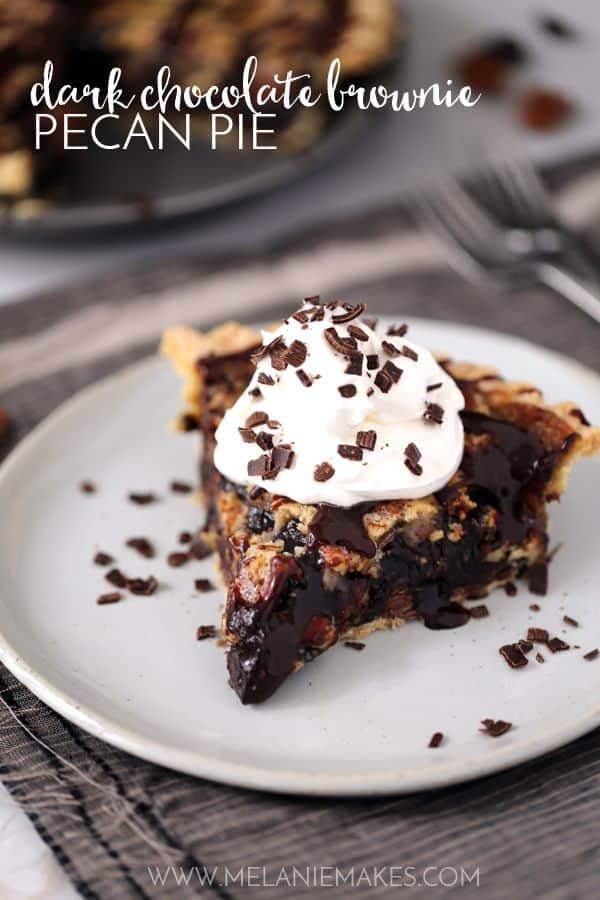 Dark Chocolate Brownie Pecan Pie | Melanie Makes