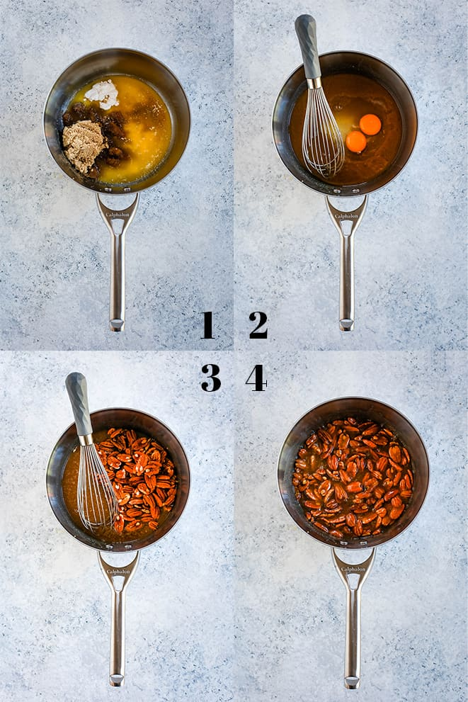 Step by step photos of how to create Dark Chocolate Brownie Pecan Pie on a white speckled background, steps 1-4.