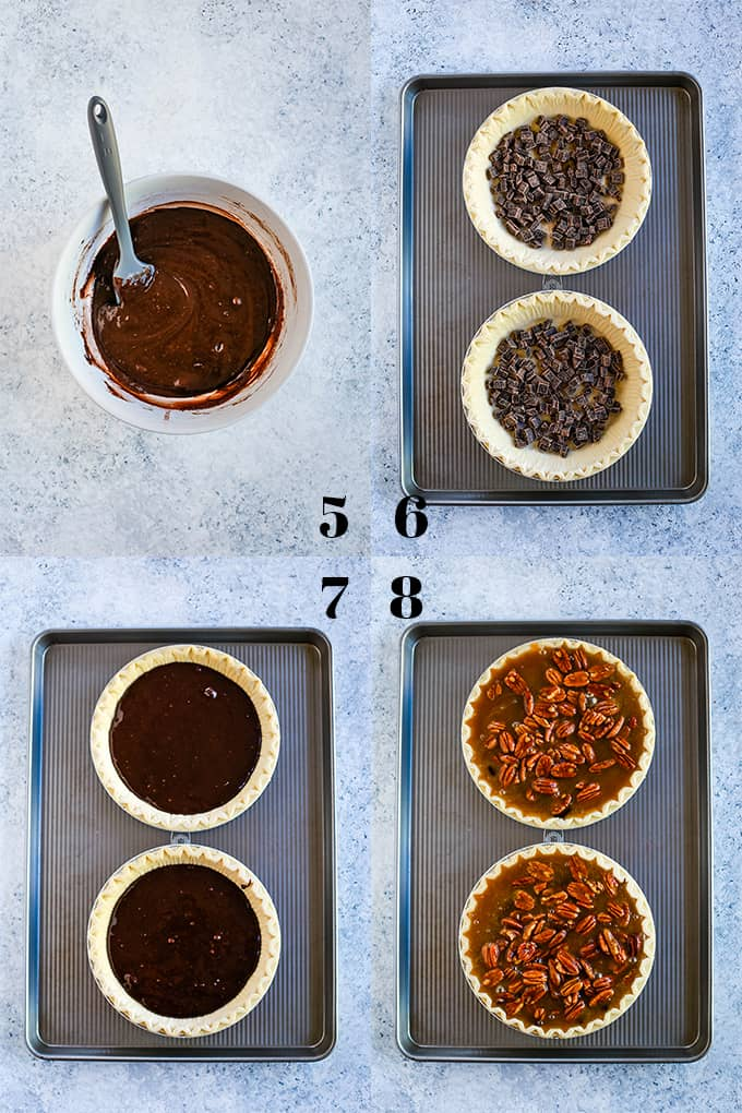 Step by step photos of how to create Dark Chocolate Brownie Pecan Pie on a white speckled background, steps 5-8.