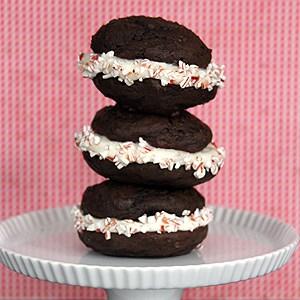 Dark Chocolate Whoopie Pies with Peppermint Mocha Cream