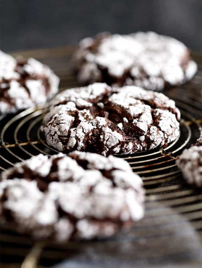 Double Chocolate Ginger Crinkle Cookies | Melanie Makes