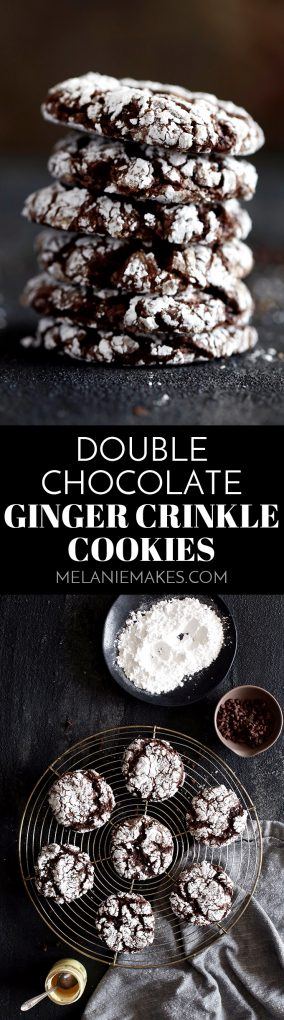 These six ingredient Double Chocolate Ginger Crinkle Cookies take just 20 minutes from mixing bowl to you enjoying them with a tall glass of milk. A dark chocolate cake mix is studded with miniature chocolate chips and spiced with ground ginger. The perfect holiday flavor combination - perfect for cookie exchanges! #cookies #christmascookies #chocolate #holiday #christmas #ginger