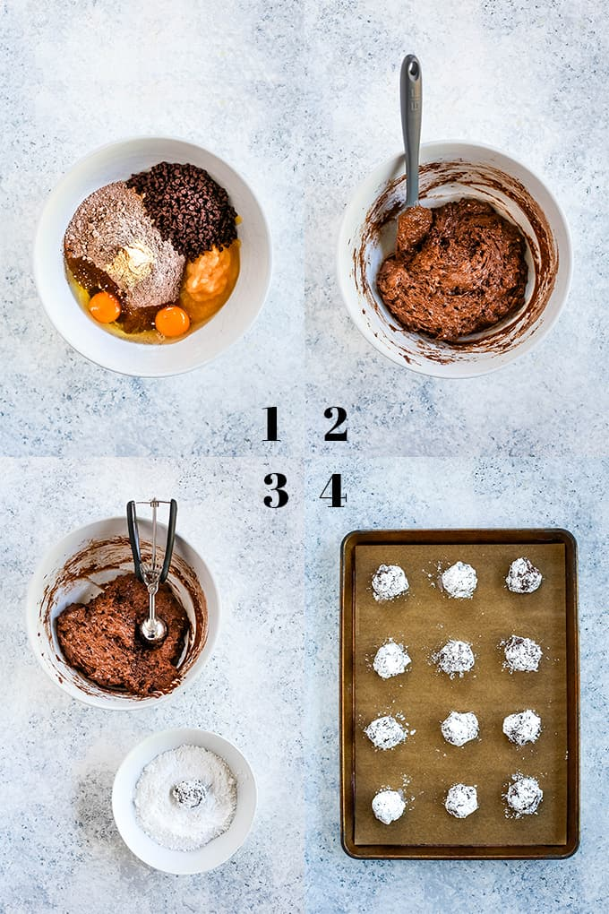 Step by step photos of how to create Double Chocolate Ginger Crinkle Cookies.