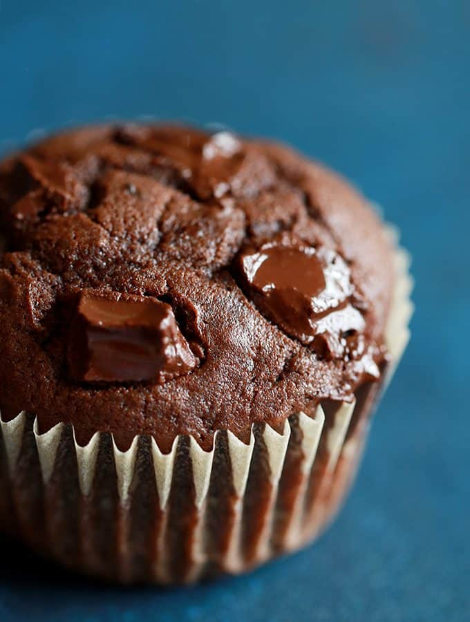 Peanut Butter Mocha Chocolate Chip Muffins | Melanie Makes