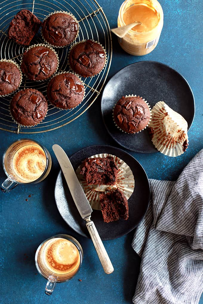 Peanut Butter Mocha Chocolate Chip Muffins | Melanie Makes