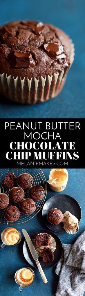These Peanut Butter Mocha Chocolate Chip Muffins are just as delicious as the amazing treats in the glass case at your favorite coffee shop.  A super moist peanut butter and mocha muffin studded with chocolate chips.  Indulge away, my friends - you deserve it.  Long live the delicious chocolate and coffee flavor combination! #peanutbutter #mocha #chocolate #chocolatechip #muffin #breakfast #brunch #coffee