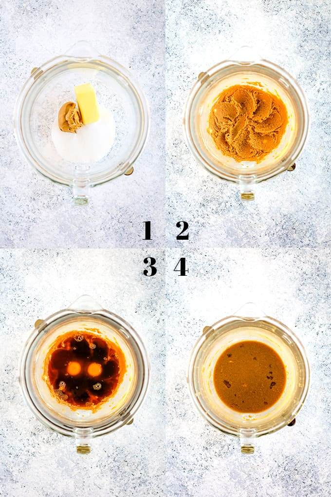How to prepare Peanut Butter Mocha Chocolate Chip Muffins, steps 1-4.