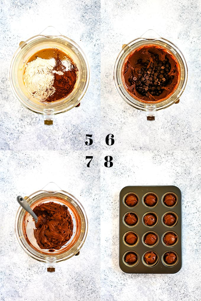 How to prepare Peanut Butter Chocolate Chip Muffins, steps 5-8.