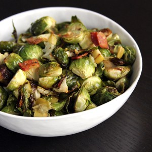 Roasted Brussels Sprouts with Apple and Bacon | @melaniebauer at Melanie Makes