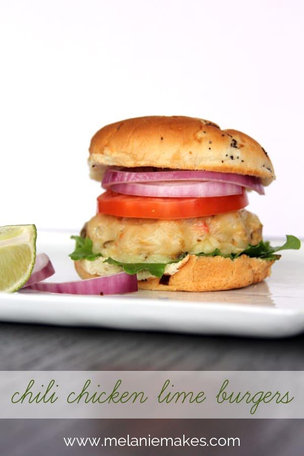 Chili Chicken Lime Burgers   @melaniebauer at Melanie Makes