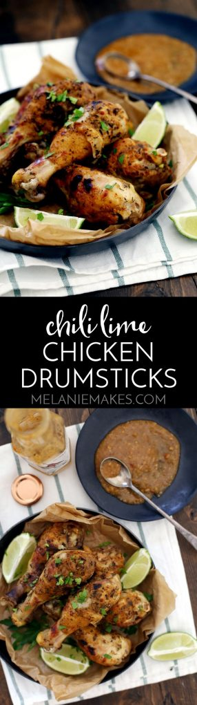 These six ingredient Chili Lime Chicken Drumsticks are your answer to a no fuss, high flavor dinner. These drumsticks begin in the slow cooker and finish under the broiler to create the perfect crispy exterior with succulent chicken waiting underneath.