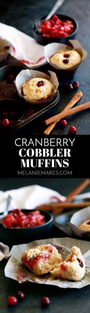 These Cranberry Cobbler Muffins are the perfect use for your Thanksgiving leftovers! Delicious Citrus Cranberry Sauce sandwiched between perfectly browned dough create an amazing cobbler-like pastry to enjoy with your morning cup of coffee or tea. #cranberry #cranberrysauce #muffins #thanksgiving #breakfast #brunch #leftovers
