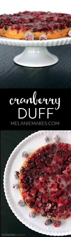 Cranberries take center stage in this New England spin of a cranberry upside down cake - otherwise known as Cranberry Duff. Layers of cranberries, pecans and sugar followed by a not-too-sweet batter are baked and then inverted to create this showstopper.