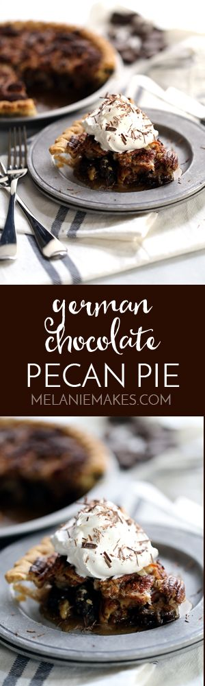 This German Chocolate Pecan Pie is, simply put, one of your favorite cakes in pie form. Chocolate, pecans and coconut meld together in a deep dish pie crust to form a memorable holiday treat.