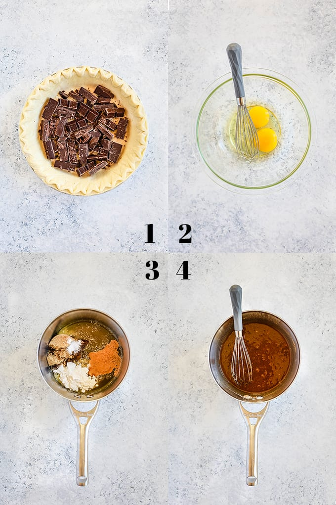 Step by step photos of how to create a German Chocolate Pecan Pie, steps 1-4.