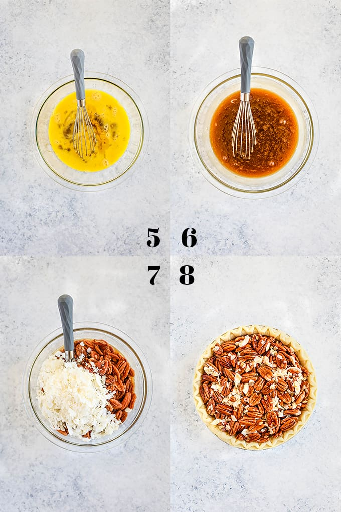 Step by step photos of how to create a German Chocolate Pecan Pie, steps 5-8.
