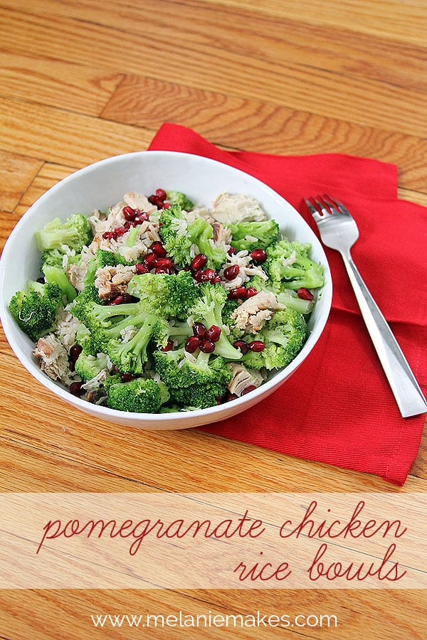 Pomegranate Chicken Rice Bowls | @melaniebauer at Melanie Makes