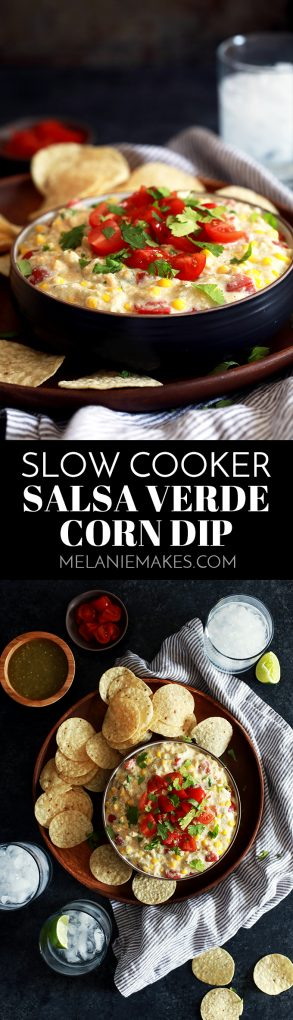This Slow Cooker Salsa Verde Corn Dip Cream is quite possibly the easiest appetizer ever created. Cream cheese, salsa verde, onion and spices are melted together before being studded with additional cheese, tomatoes and cilantro. There's a reason why this dip disappears so quickly! #salsa #corn #dips #slowcooker #crockpot #appetizers #snacks