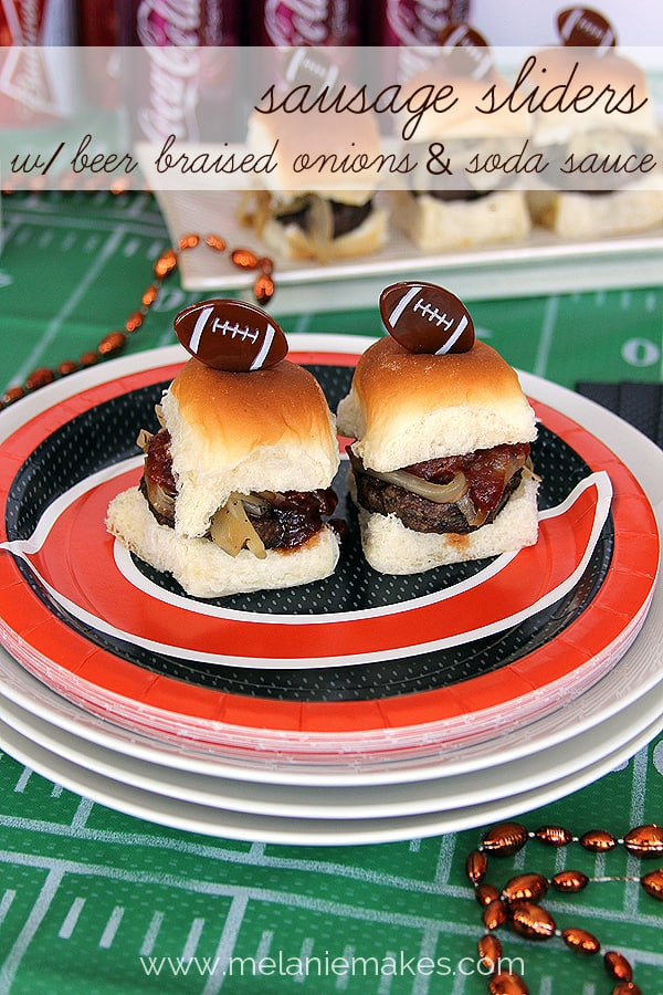Sausage Sliders with Beer Braised Onions and Soda Sauce   @melaniebauer at Melanie Makes #shop