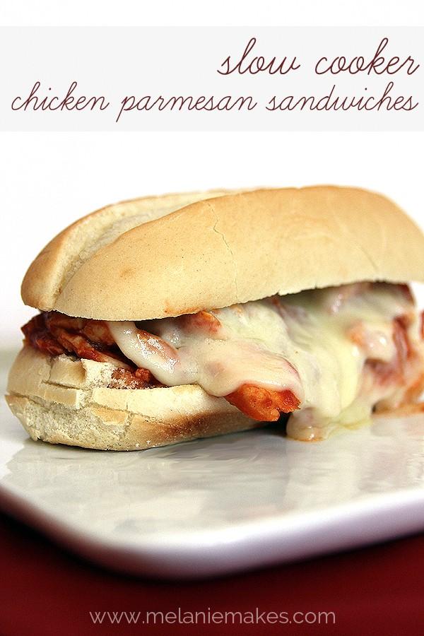 Slow Cooker Chicken Parmesan Sandwiches   @melaniebauer at Melanie Makes